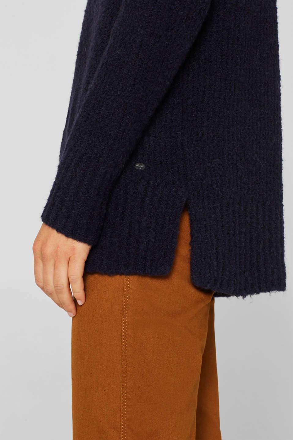 Wool/alpaca blend: polo neck jumper, NAVY, detail image number 6