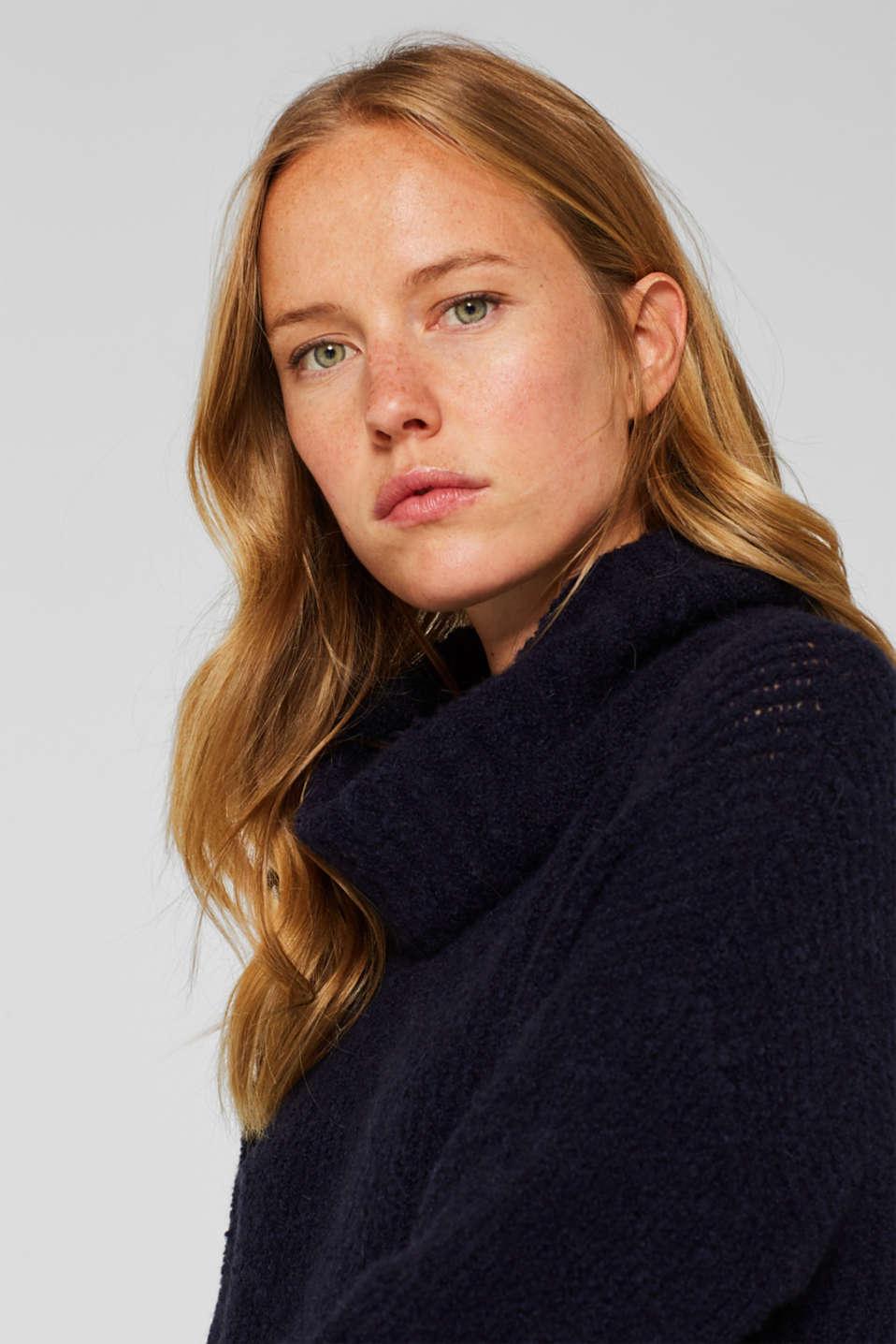 Wool/alpaca blend: polo neck jumper, NAVY, detail image number 7