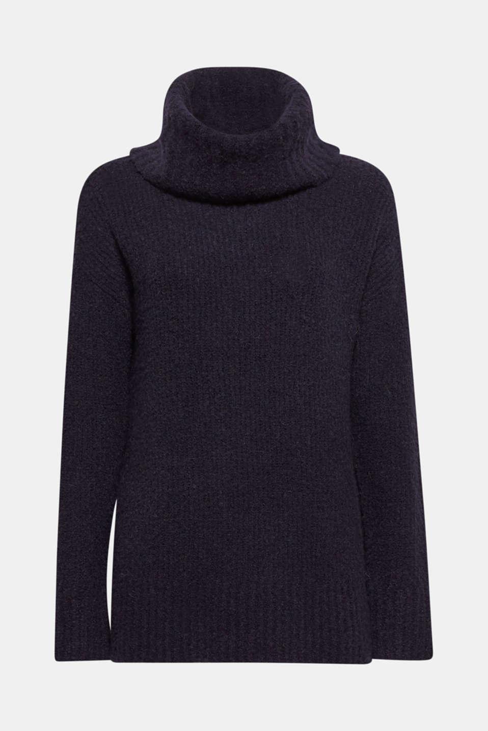 Wool/alpaca blend: polo neck jumper, NAVY, detail image number 8