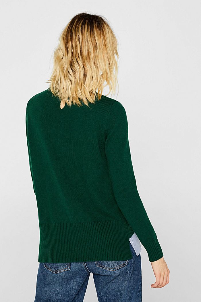 With wool: layered jumper, BOTTLE GREEN, detail image number 3