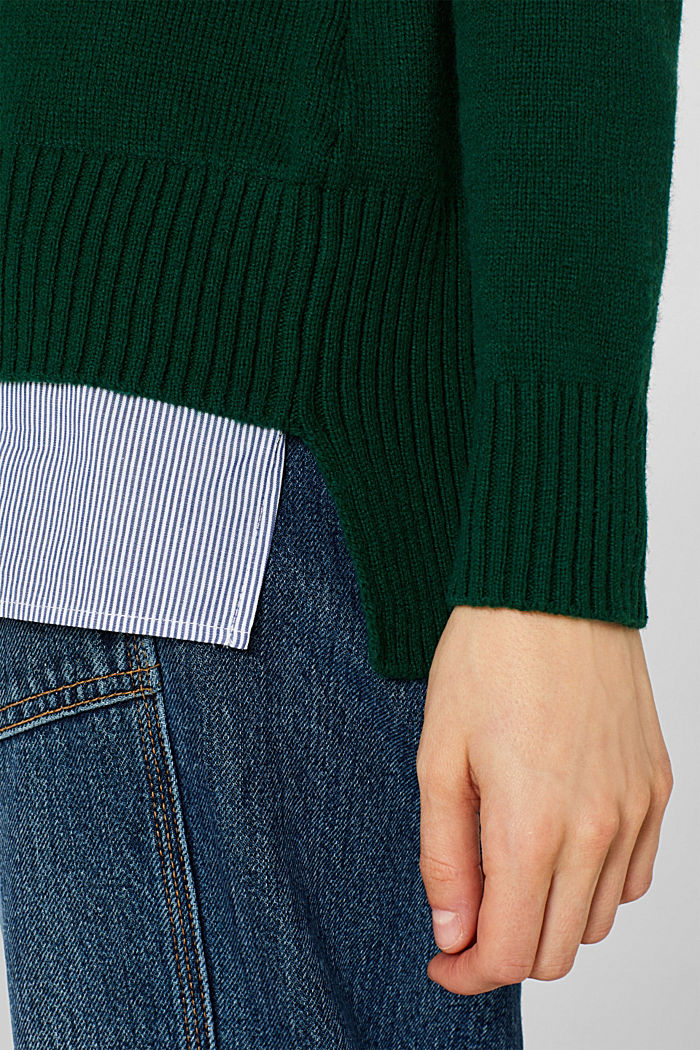 With wool: layered jumper, BOTTLE GREEN, detail image number 2