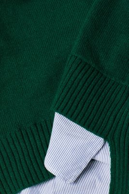 With wool: layered jumper, BOTTLE GREEN, detail