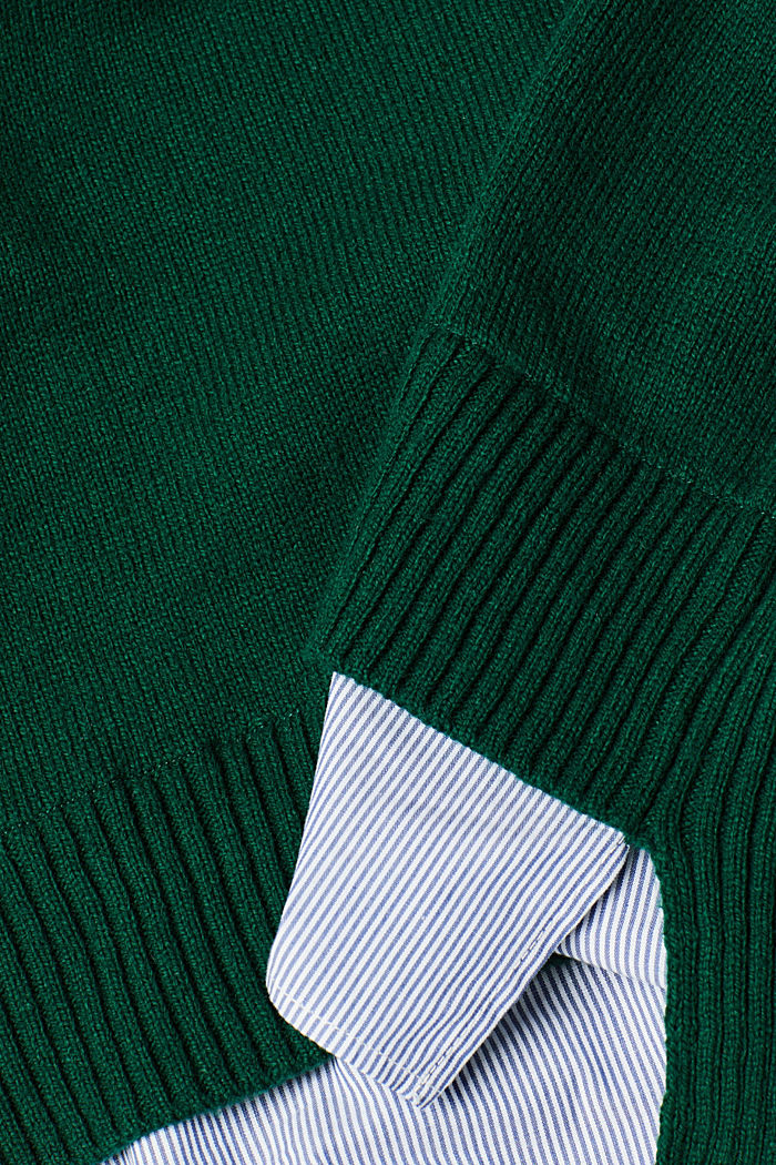 With wool: layered jumper, BOTTLE GREEN, detail image number 4