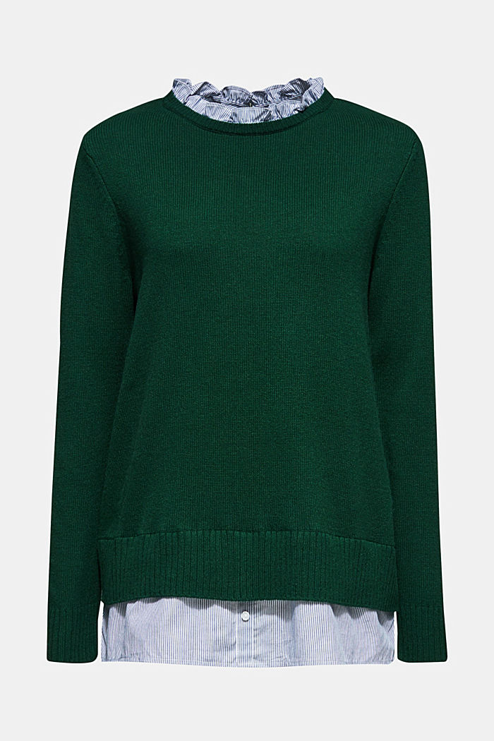 With wool: layered jumper, BOTTLE GREEN, detail image number 6