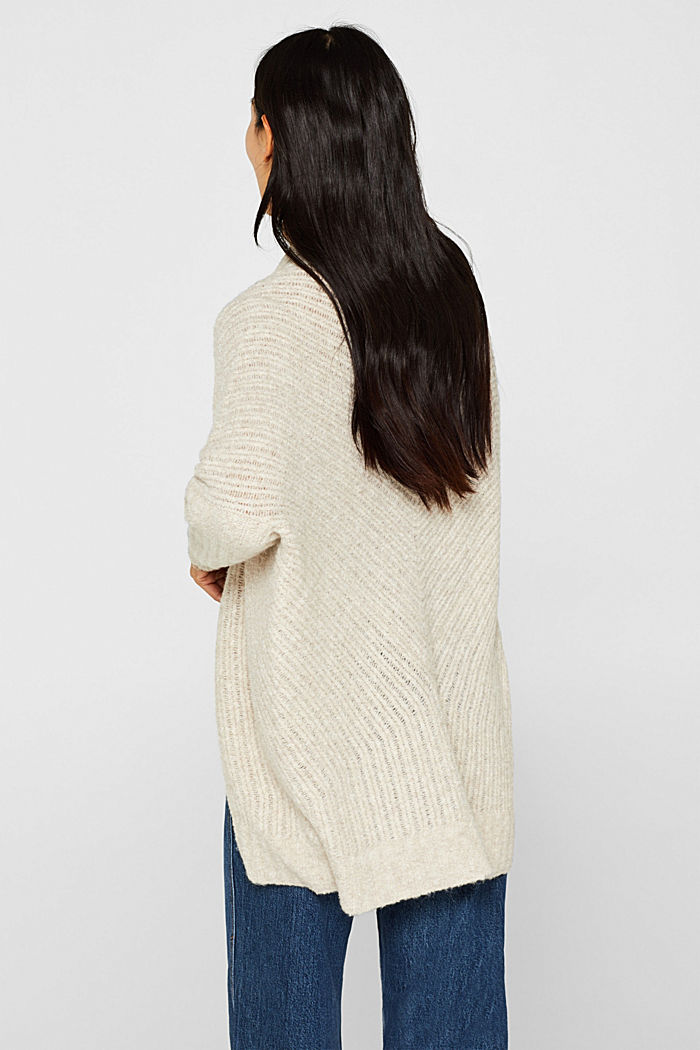 With wool: Textured open cardigan, CREAM BEIGE, detail image number 3