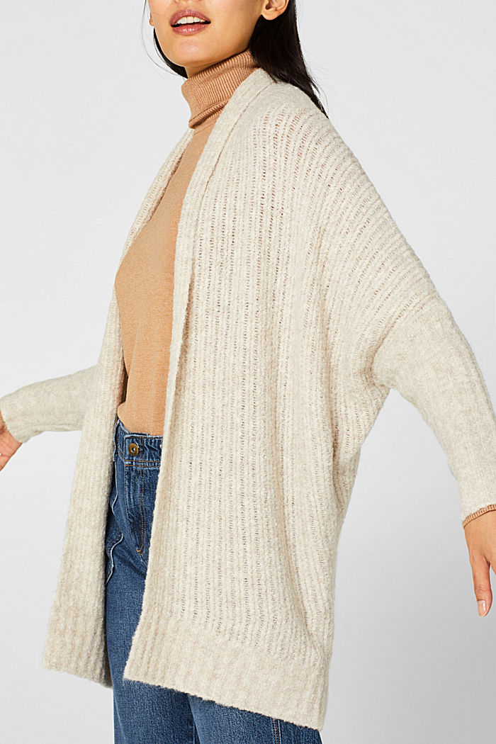 With wool: Textured open cardigan, CREAM BEIGE, detail image number 2