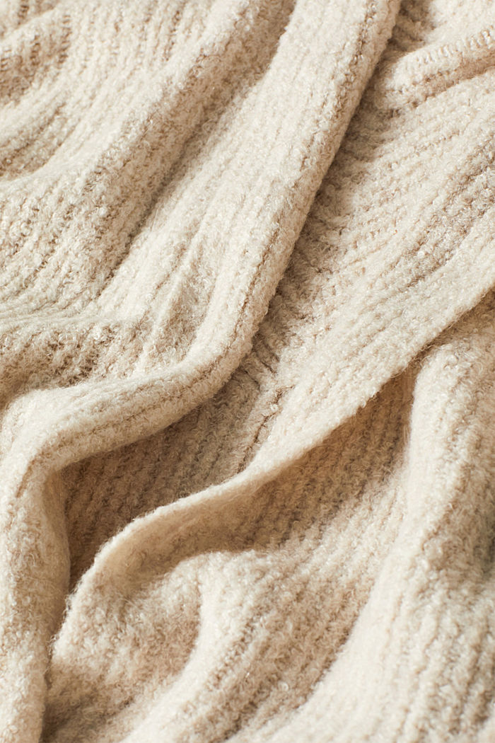 With wool: Textured open cardigan, CREAM BEIGE, detail image number 4