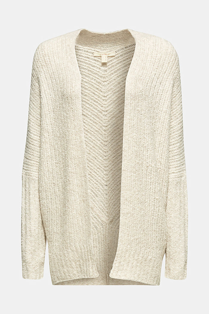 With wool: Textured open cardigan, CREAM BEIGE, detail image number 6