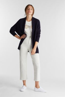 With wool: Textured open cardigan, NAVY, detail