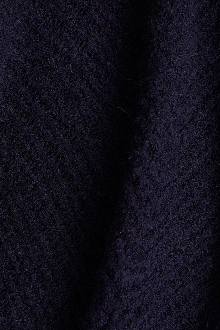 With wool: Textured open cardigan, NAVY, detail image number 4