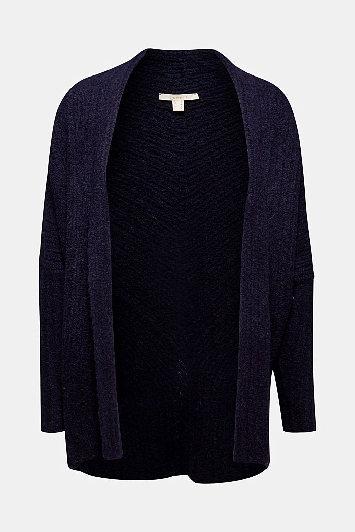 With wool: Textured open cardigan, NAVY, detail image number 5