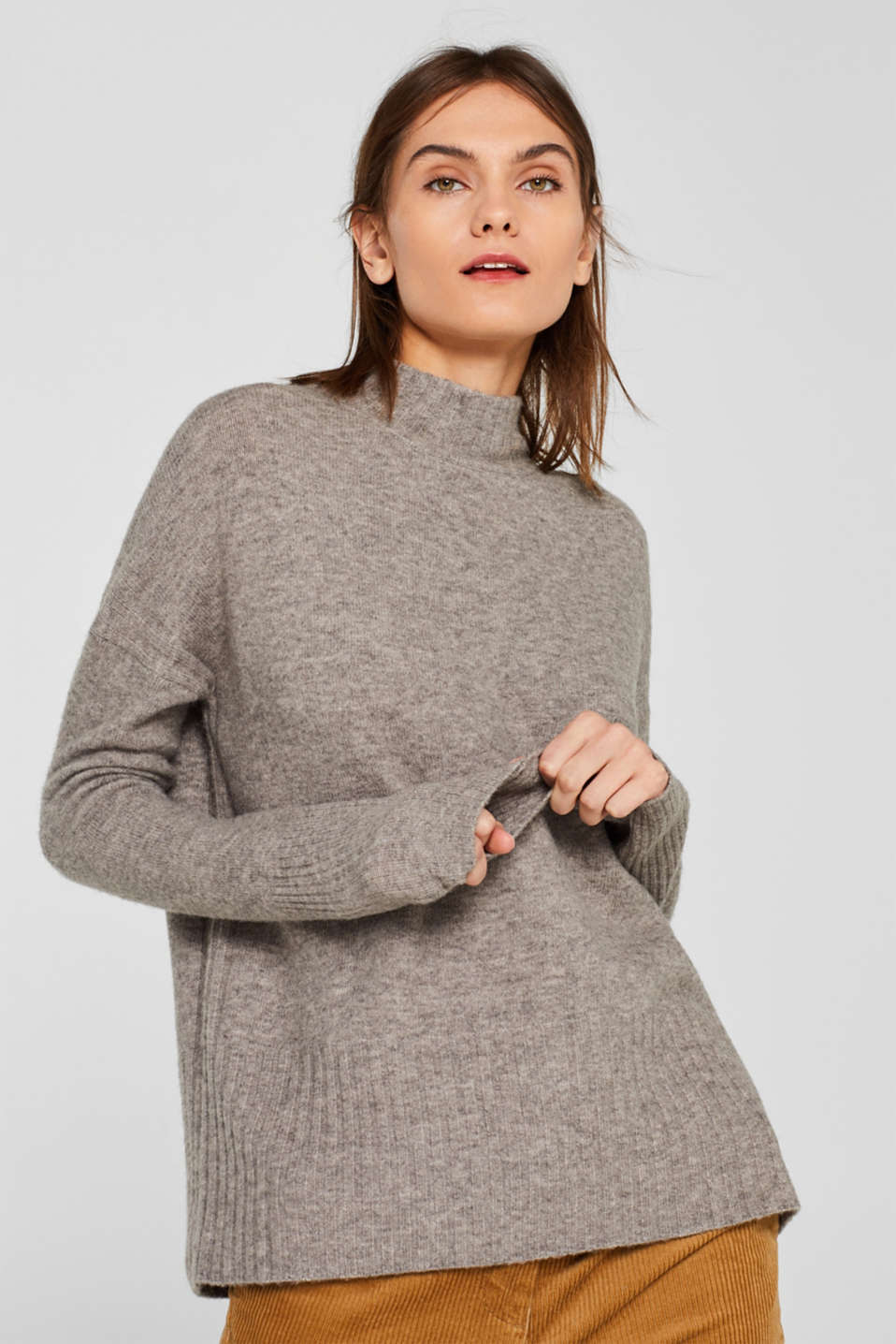 With wool: jumper with ribbed details, MEDIUM GREY 5, detail image number 0