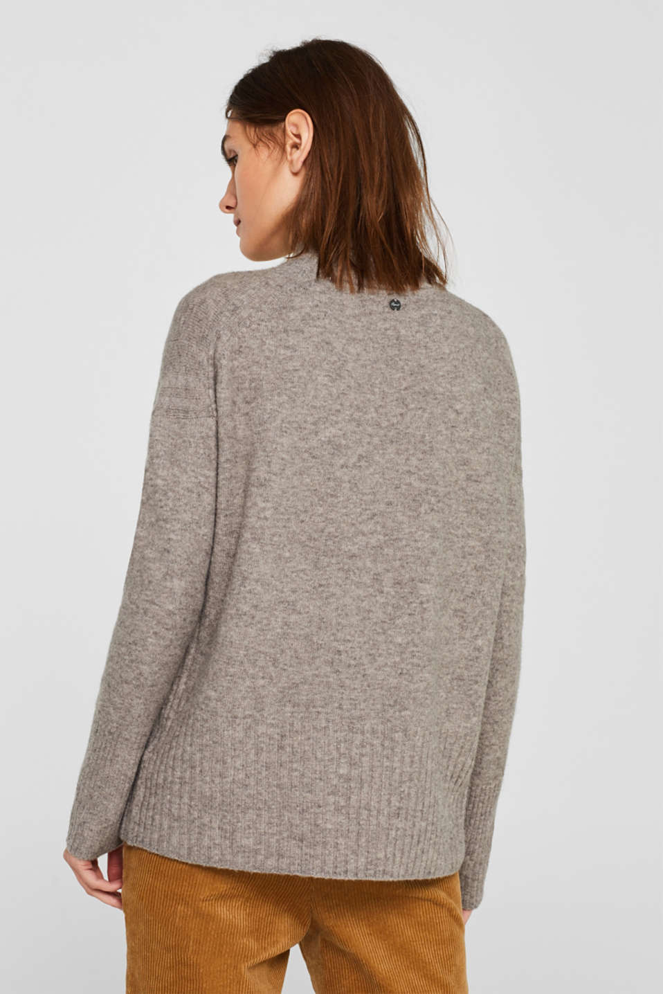 With wool: jumper with ribbed details, MEDIUM GREY 5, detail image number 3