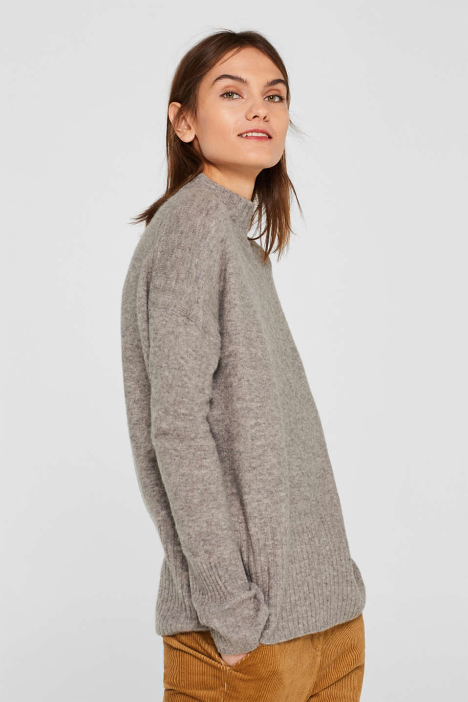 With wool: jumper with ribbed details, MEDIUM GREY 5, detail image number 5