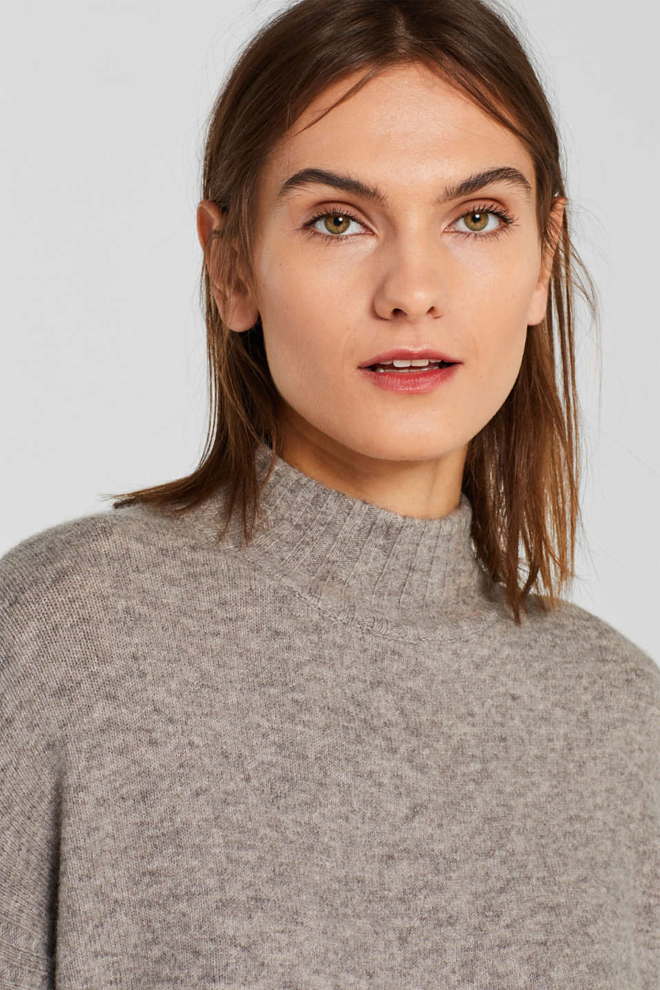 With wool: jumper with ribbed details, MEDIUM GREY 5, detail image number 6