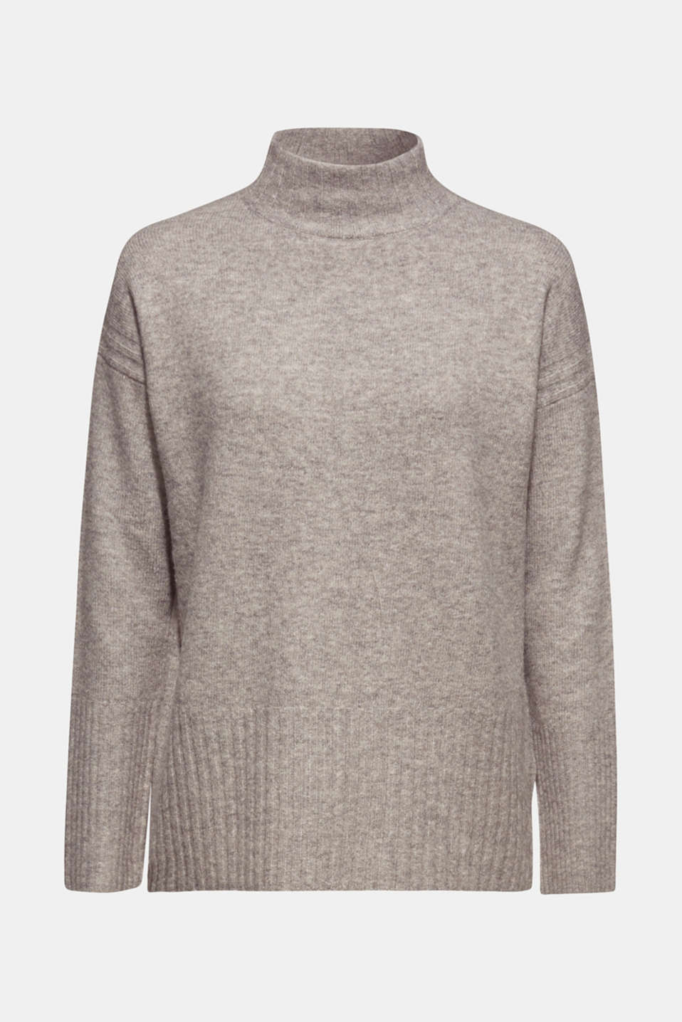 With wool: jumper with ribbed details, MEDIUM GREY 5, detail image number 7