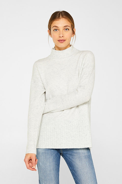 With wool: jumper with ribbed details