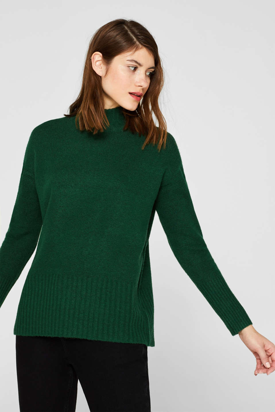 With wool: jumper with ribbed details, BOTTLE GREEN 5, detail image number 0
