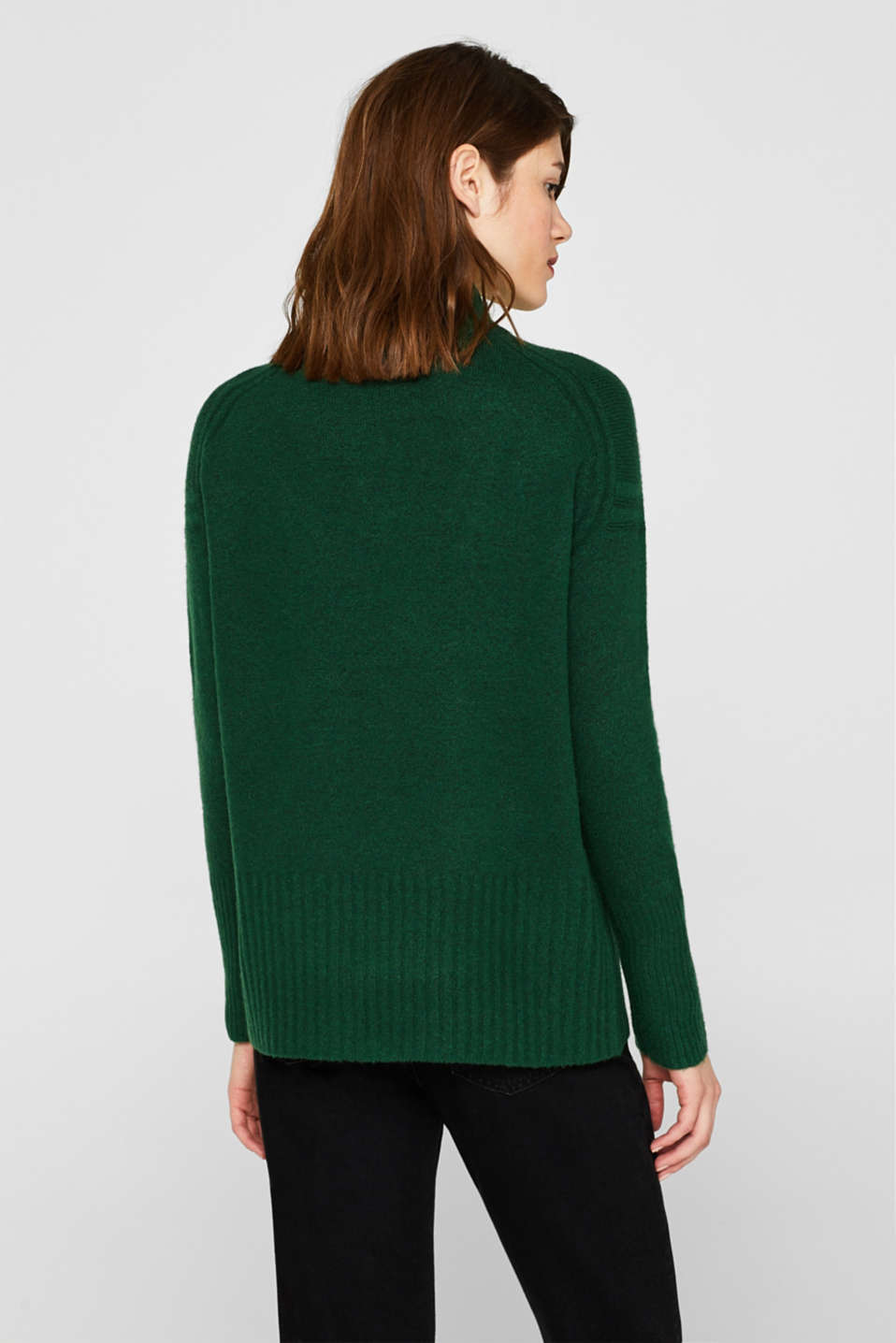 With wool: jumper with ribbed details, BOTTLE GREEN 5, detail image number 3
