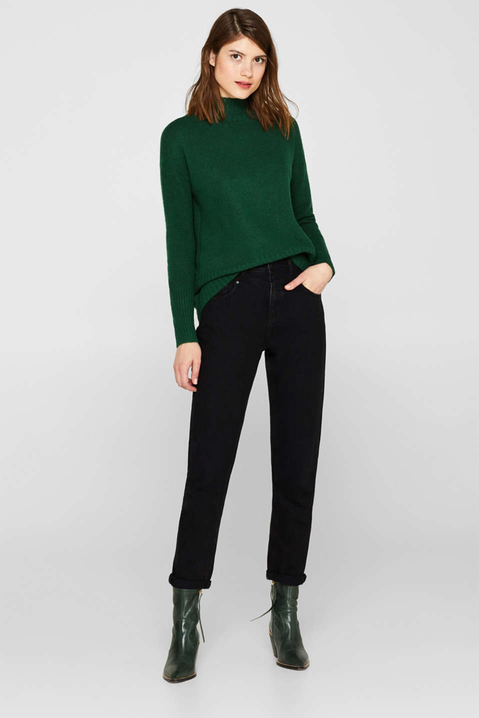 With wool: jumper with ribbed details, BOTTLE GREEN 5, detail image number 1
