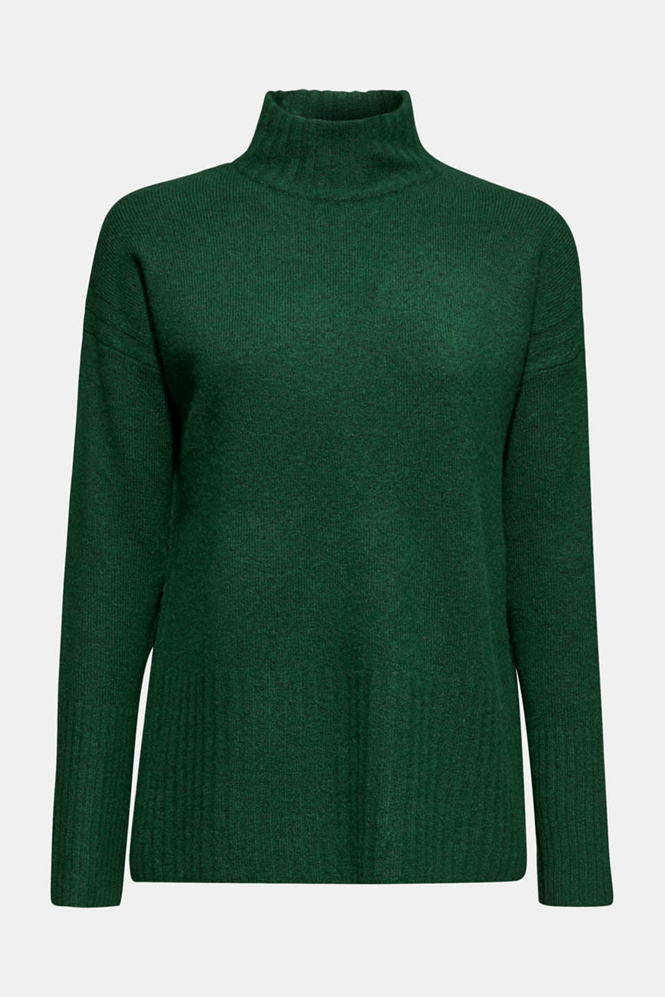 With wool: jumper with ribbed details, BOTTLE GREEN 5, detail image number 6