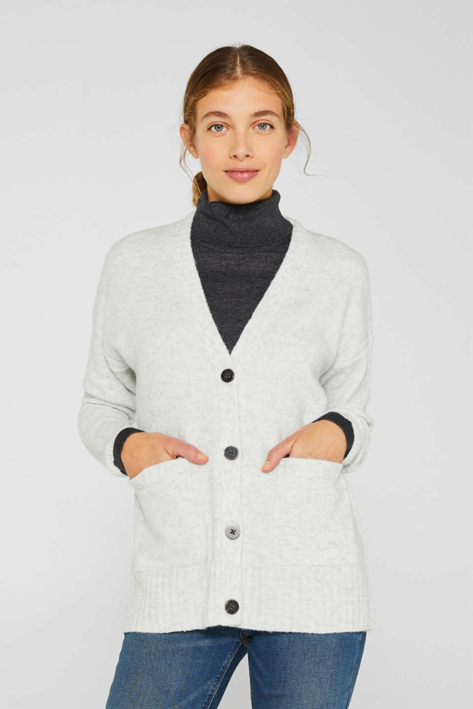 Esprit - With wool: Melange cardigan