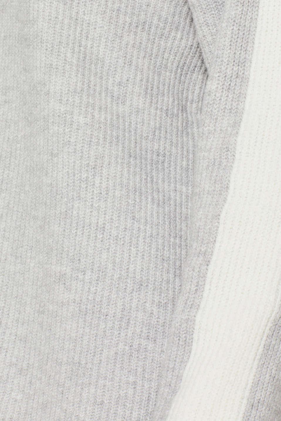 Turtleneck jumper with contrasts, LIGHT GREY 5, detail image number 4