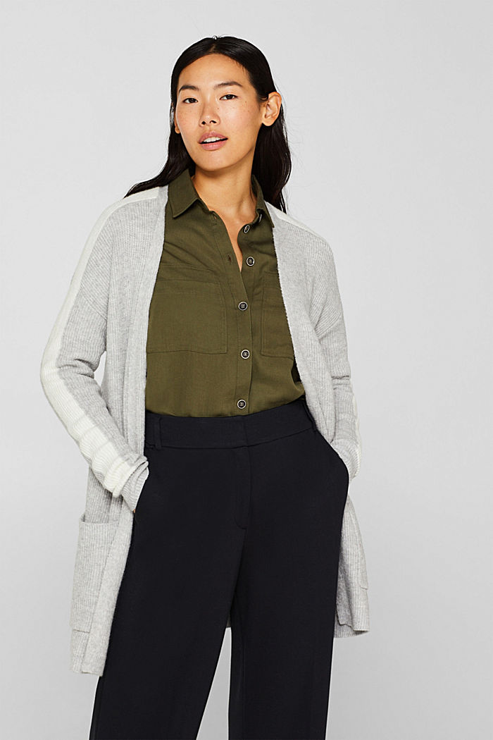 Open cardigan with stretch, LIGHT GREY, detail image number 0