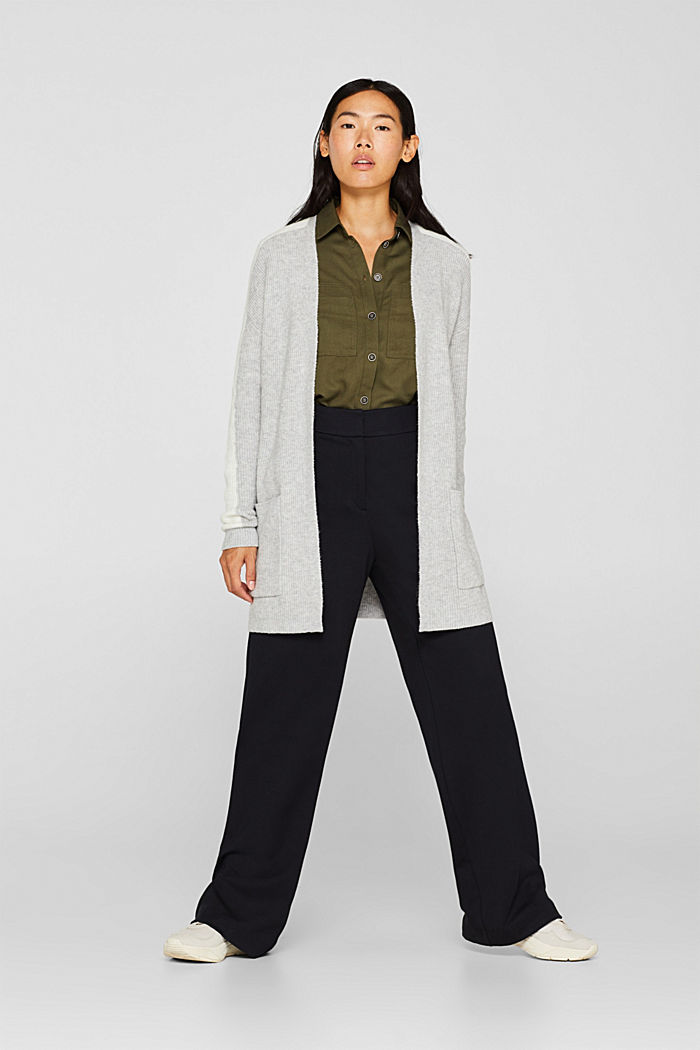 Open cardigan with stretch, LIGHT GREY, detail image number 1