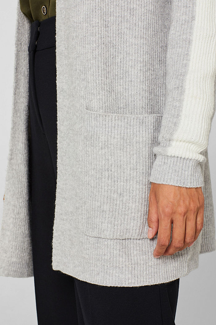 Open cardigan with stretch, LIGHT GREY, detail image number 4