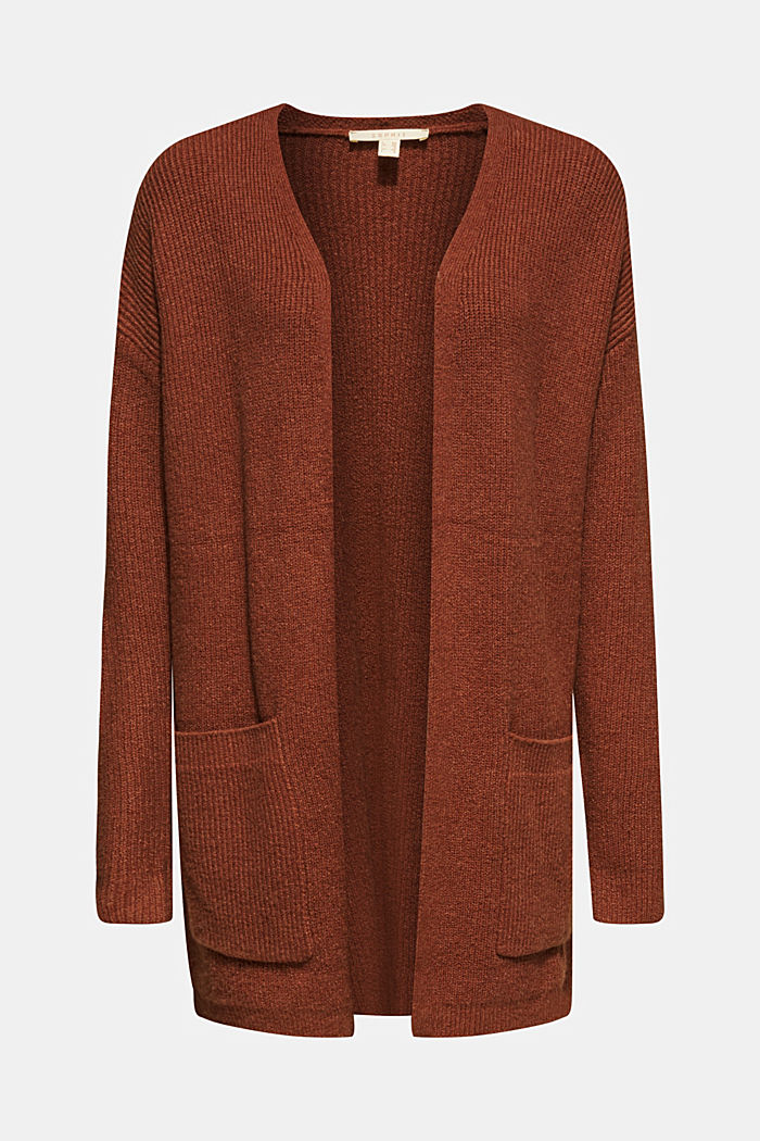 Offener Cardigan mit Stretch, RUST BROWN, detail image number 0