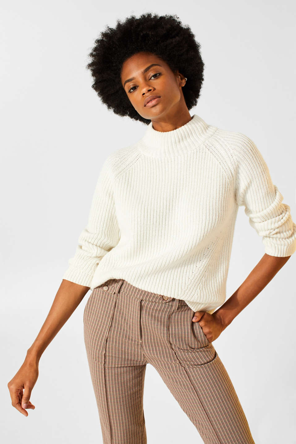 Wool blend: Chunky knit jumper, OFF WHITE, detail image number 0