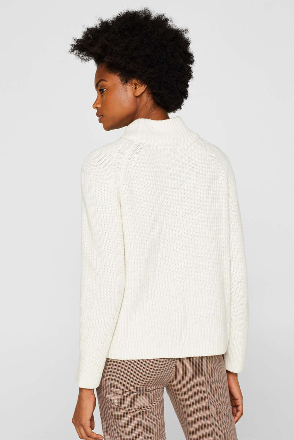Wool blend: Chunky knit jumper, OFF WHITE, detail image number 3