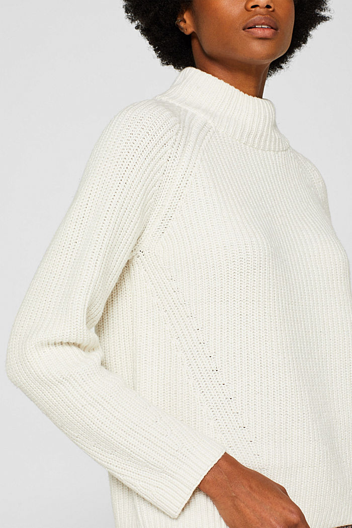 Wool blend: Chunky knit jumper, OFF WHITE, detail image number 2