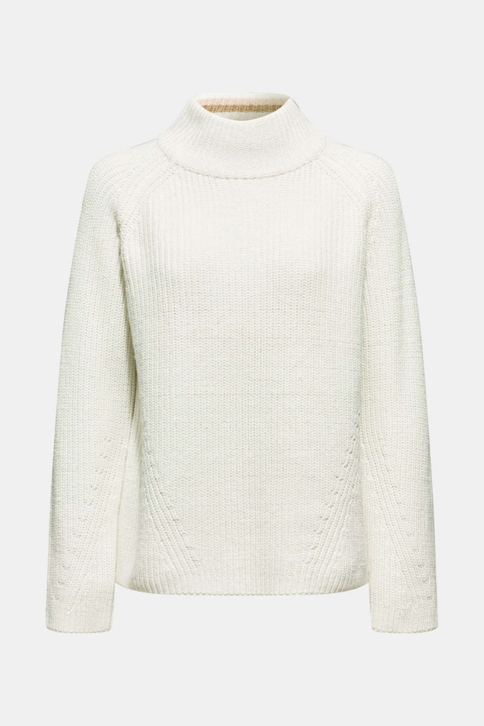 Wool blend: Chunky knit jumper, OFF WHITE, detail image number 5