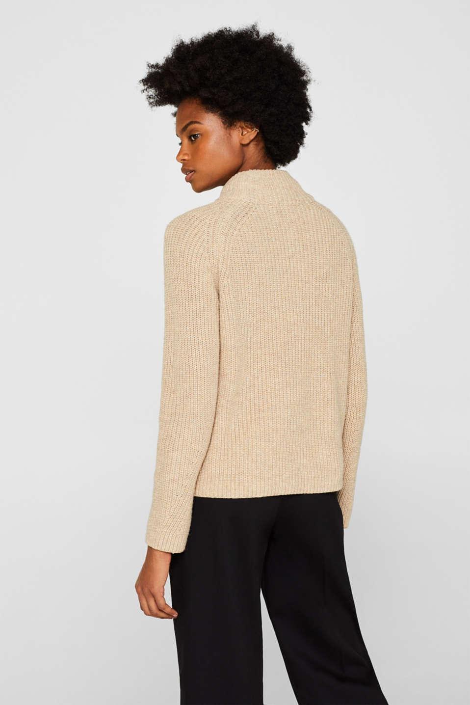 Wool blend: Chunky knit jumper, LIGHT BEIGE, detail image number 3