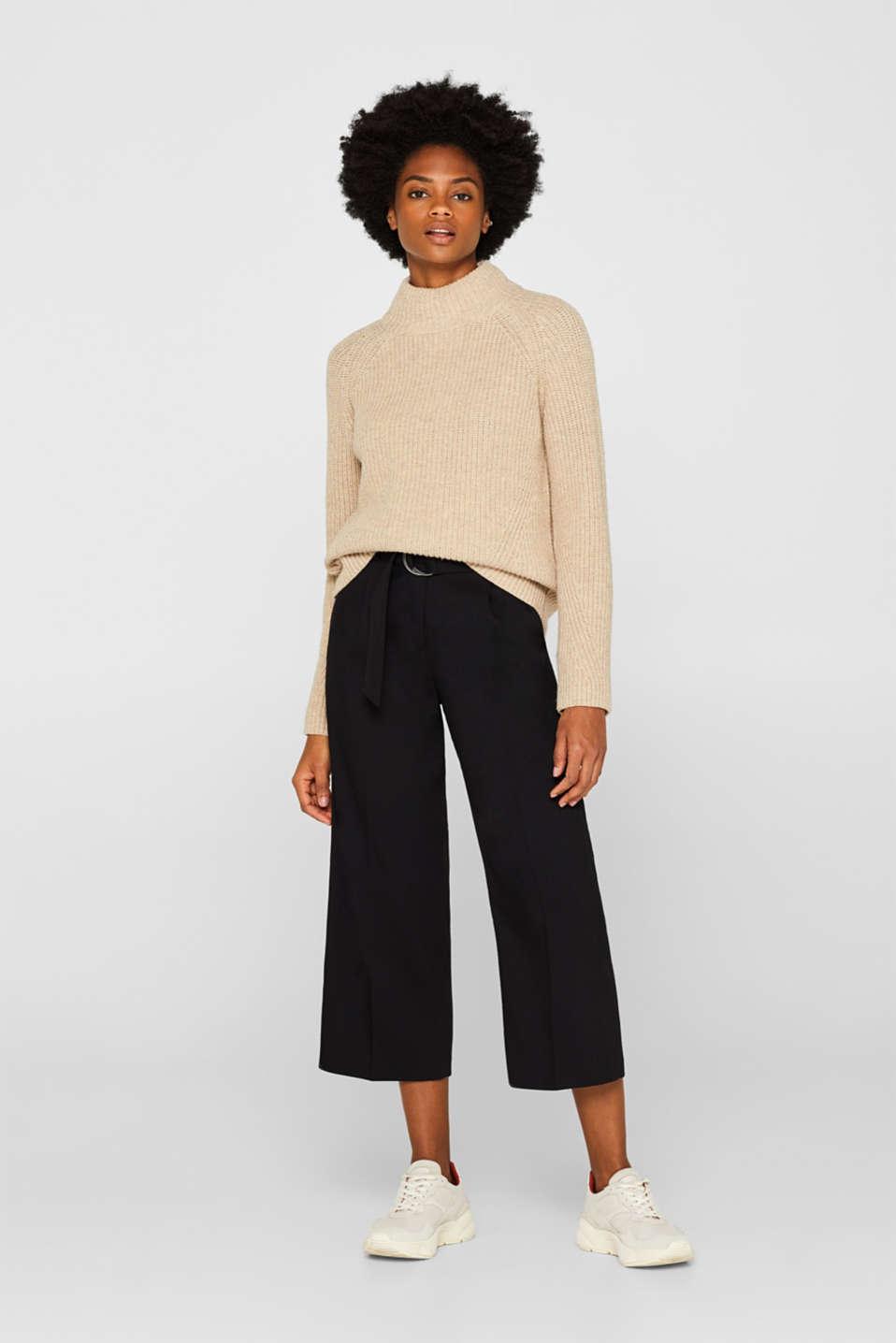 Wool blend: Chunky knit jumper, LIGHT BEIGE, detail image number 1