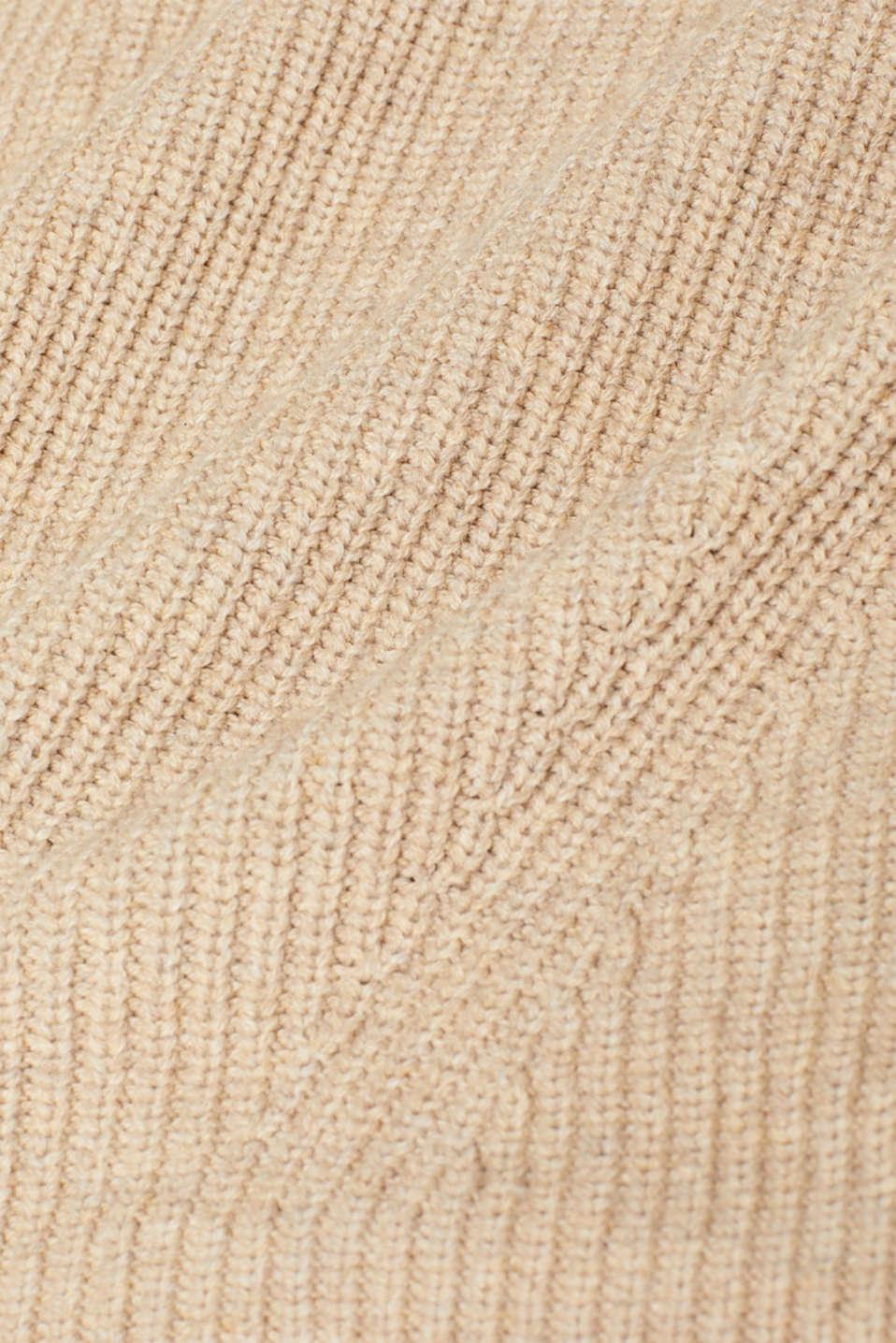 Wool blend: Chunky knit jumper, LIGHT BEIGE, detail image number 4