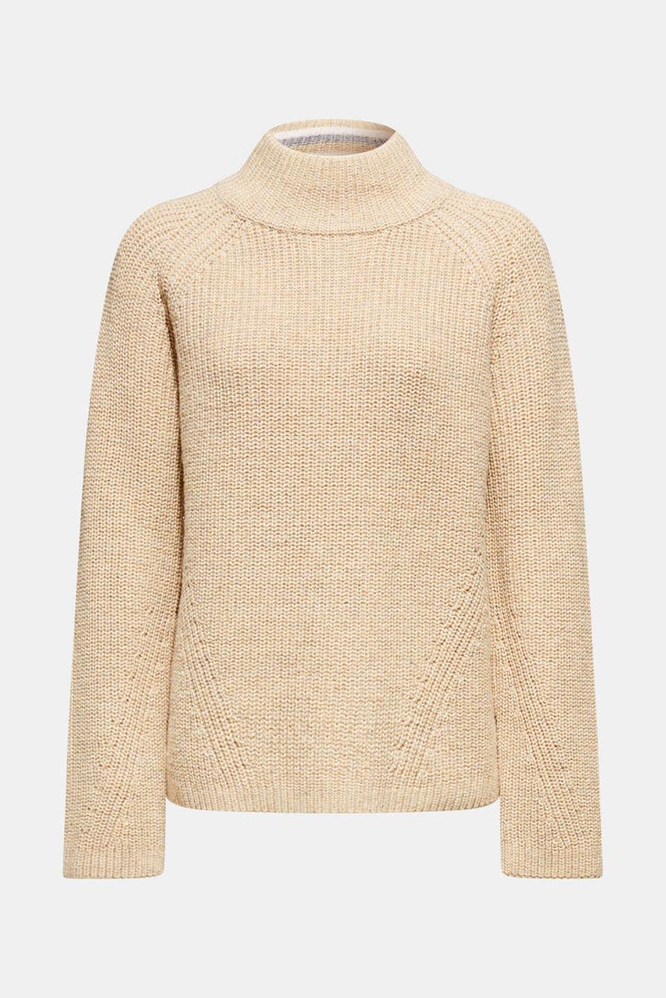 Wool blend: Chunky knit jumper, LIGHT BEIGE, detail image number 5