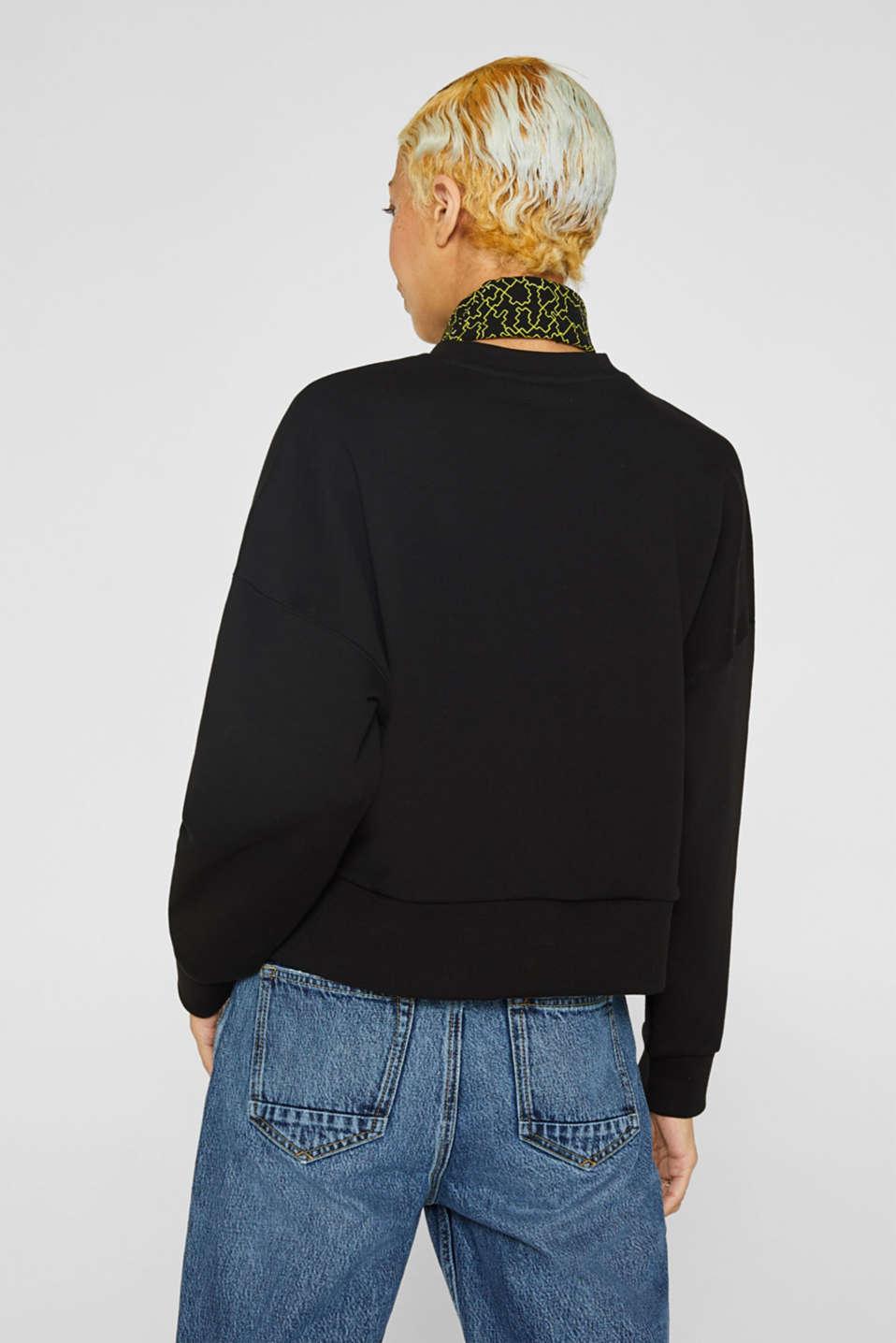 #throwback logo sweatshirt, 100% cotton, BLACK, detail image number 3