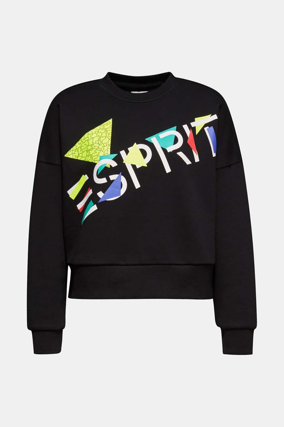 #throwback logo sweatshirt, 100% cotton, BLACK, detail image number 5