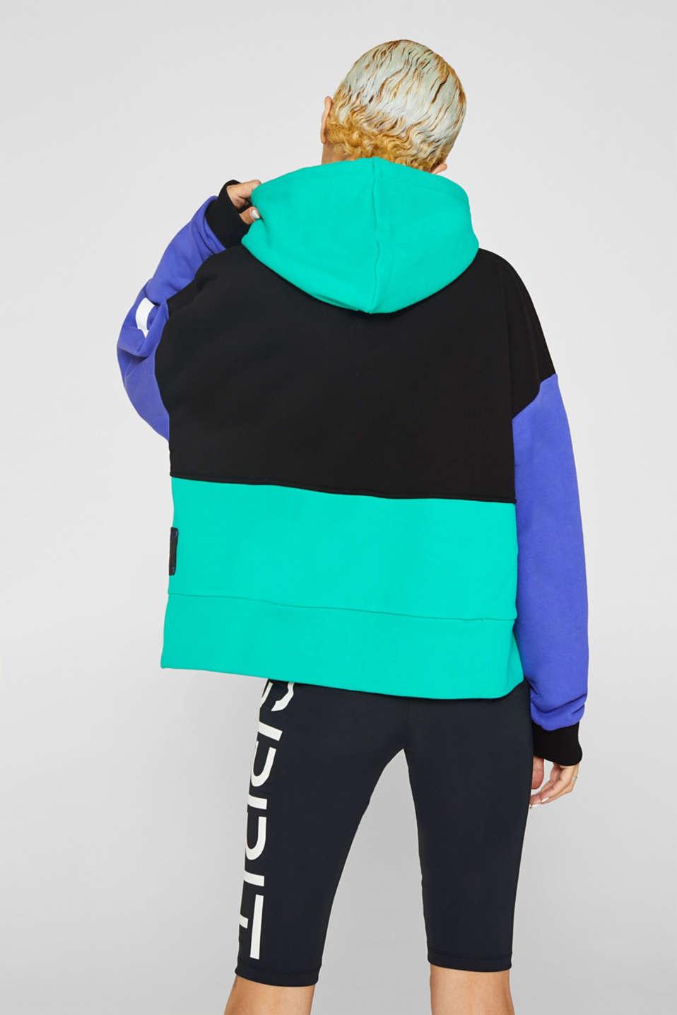 #throwback logo colour block hoodie, 100% cotton, BLACK, detail image number 3