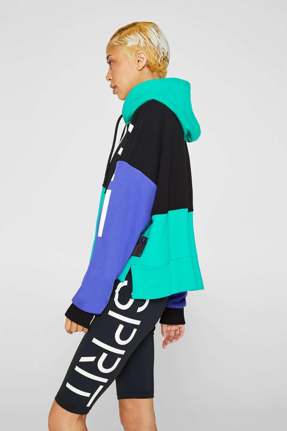 #throwback logo colour block hoodie, 100% cotton, BLACK, detail image number 5