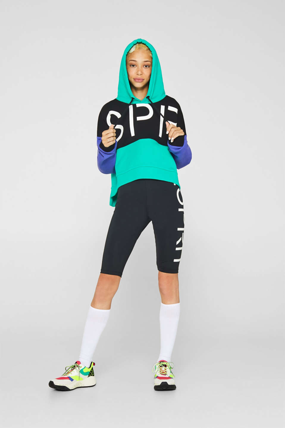 #throwback logo colour block hoodie, 100% cotton, BLACK, detail image number 1