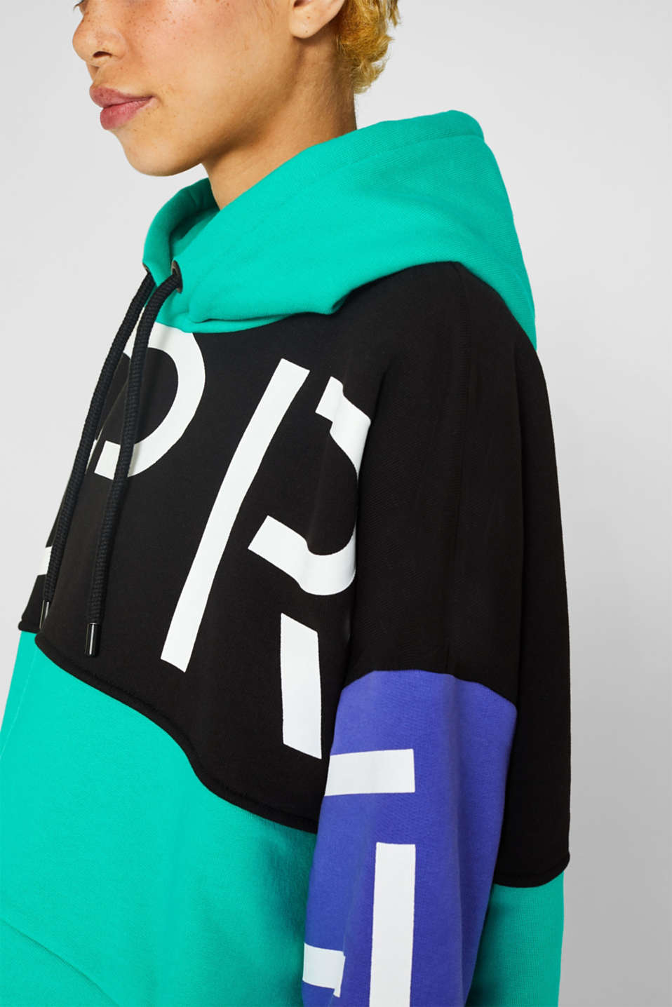 #throwback logo colour block hoodie, 100% cotton, BLACK, detail image number 2