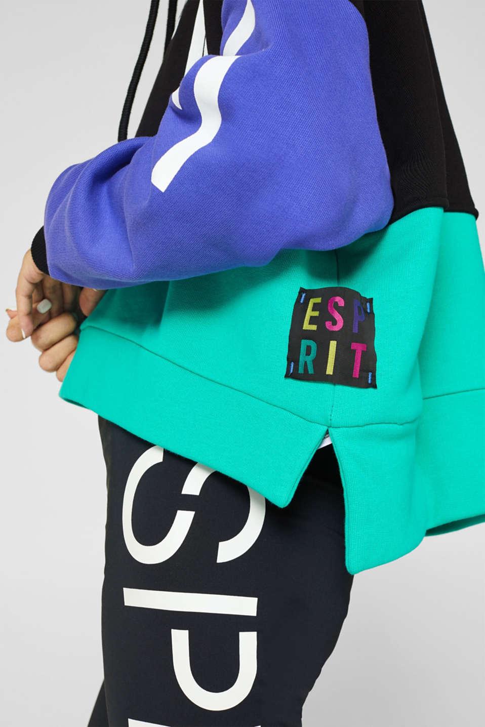 #throwback logo colour block hoodie, 100% cotton, BLACK, detail image number 4