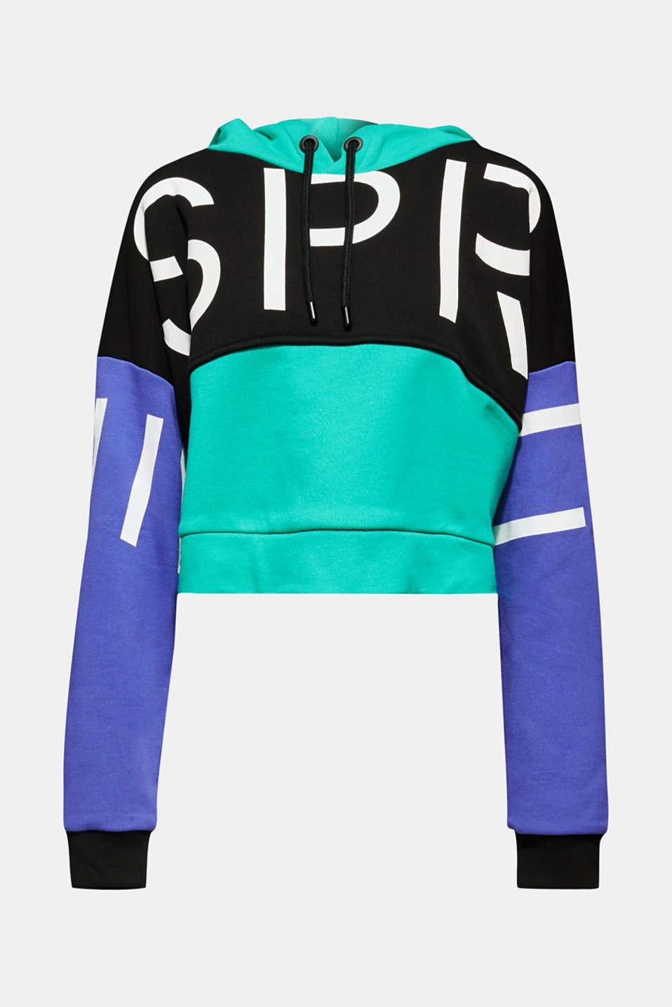 #throwback logo colour block hoodie, 100% cotton, BLACK, detail image number 7
