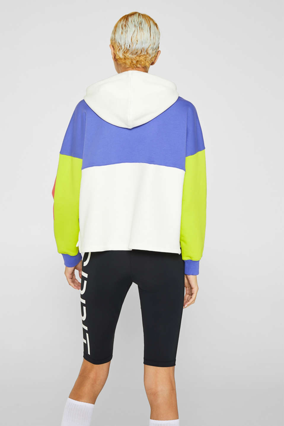 #throwback logo colour block hoodie, 100% cotton, BRIGHT YELLOW, detail image number 2