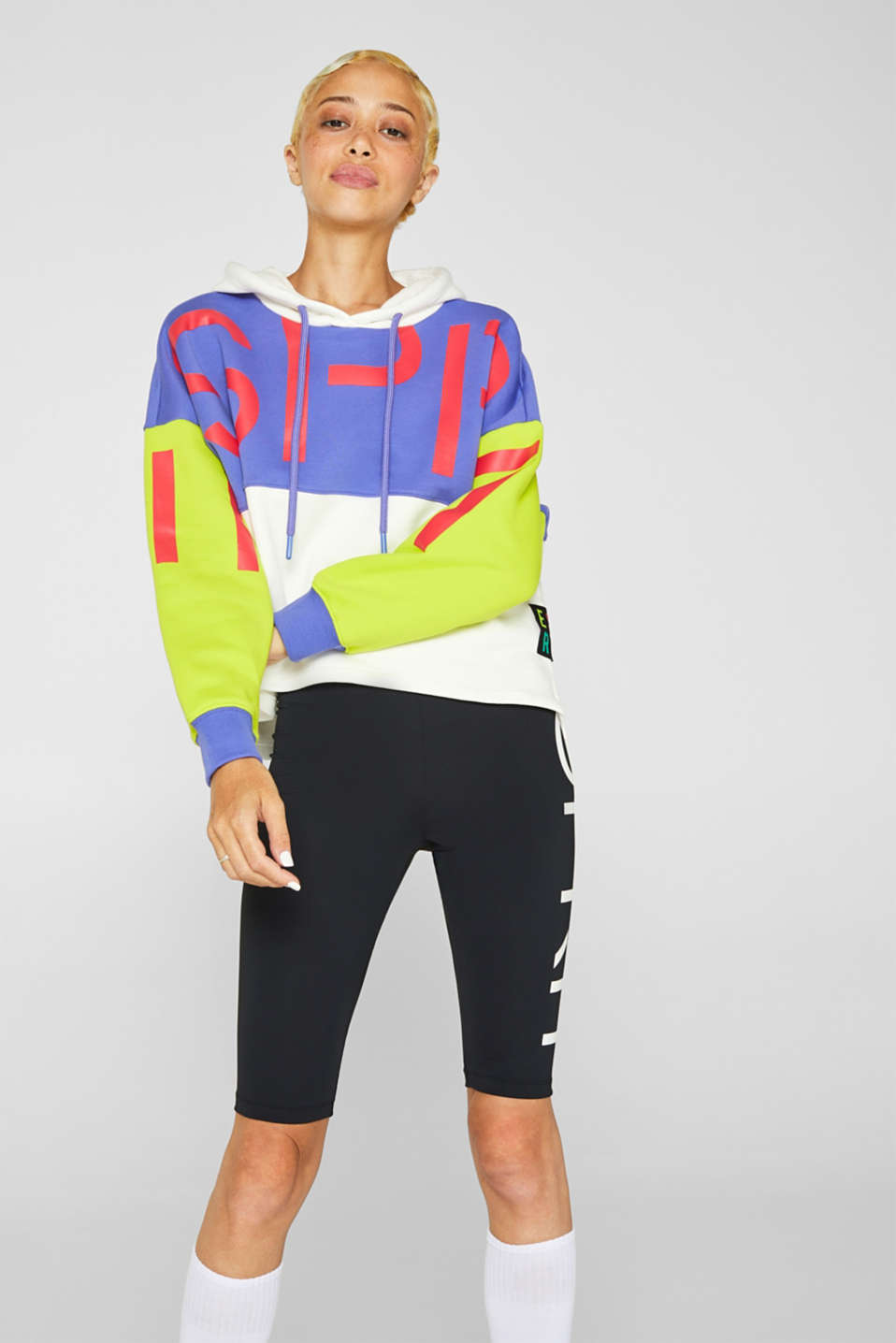 #throwback logo colour block hoodie, 100% cotton, BRIGHT YELLOW, detail image number 4