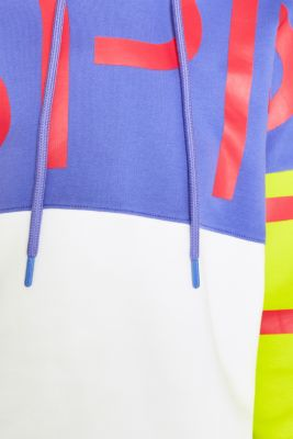 #throwback logo colour block hoodie, 100% cotton, BRIGHT YELLOW, detail